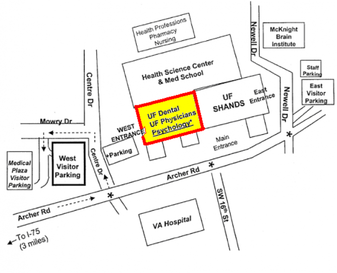 Map to Center for Pain Research and Behavioral Health